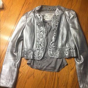 Carlisle Leather jacket silver 6 & tank shell med